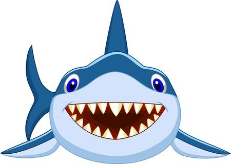 squalo bianco: Carino squalo cartone animato Vettoriali