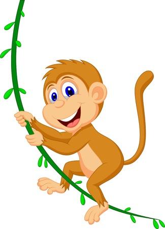 monkey on a tree: Cute monkey cartoon swinging