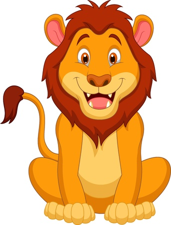 animal: Cute lion cartoon  Illustration