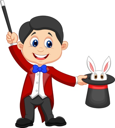 Magician cartoon pulling out a rabbit from his top hat