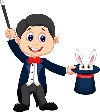 Dibujos animados de mago sacando un conejo de su sombrero de copa