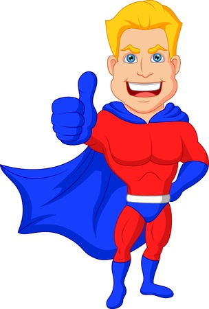 sign ok: Superhero cartoon with thumb up  Illustration
