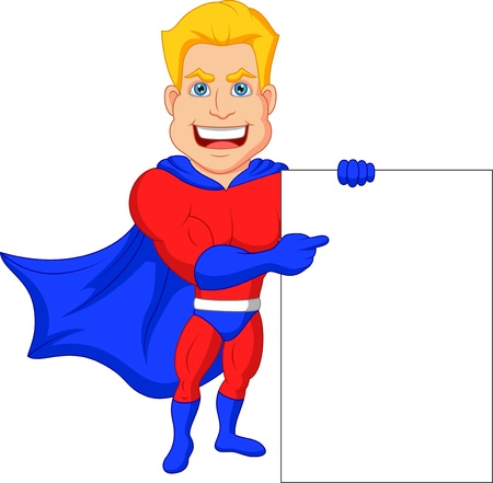 streaking: Superhero cartoon with blank sign  Illustration