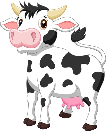 udder: Cute cow cartoon  Illustration