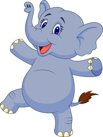 cute: Baile lindo de la historieta del elefante Vectores