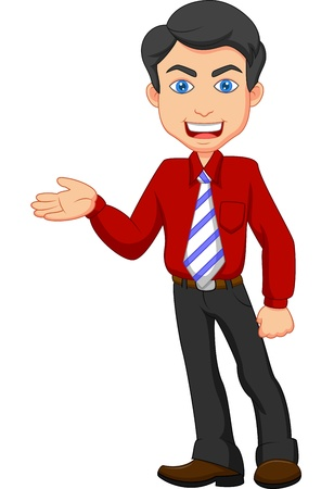 smiling young man: Office worker cartoon presenting