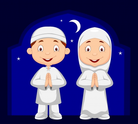 рамадан: Мусульманские мультфильма ребенок Иллюстрация