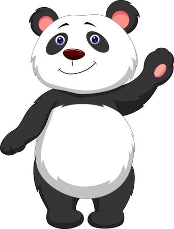 panda cub: Cute panda cartoon waving  Illustration