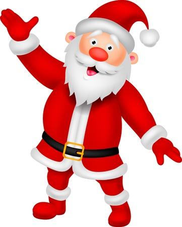 botas de navidad: Feliz de la historieta Santa que agita la mano