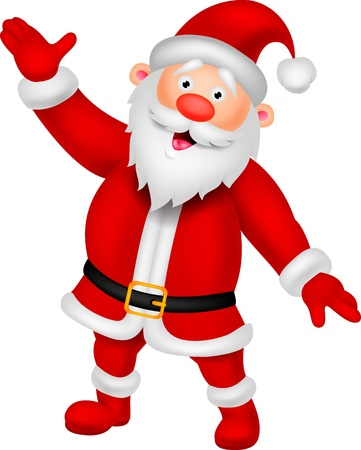 twenty fifth: Happy Santa cartoon waving hand  Illustration