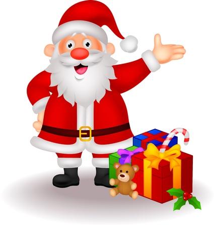 divertido: Caricatura de Santa con los regalos Vectores