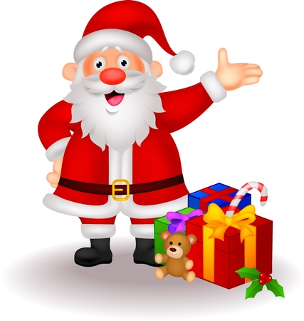 cartoon santa: Santa cartoon with gifts  Illustration