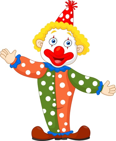 buffoon: Cute clown cartoon