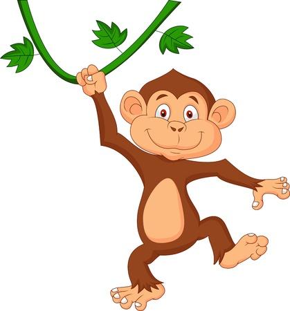 c cute: Cute dibujos animados mono colgando Vectores