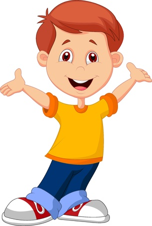 wave hello: Cute boy cartoon  Illustration