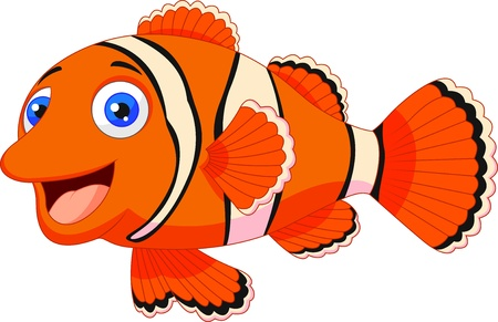 fish icon: Cute clown fish cartoon