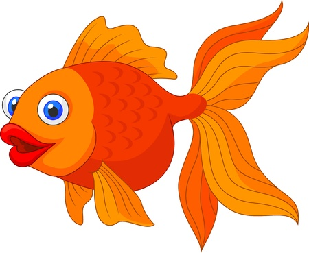 Cute golden fish cartoon Stock Vector - 21063045