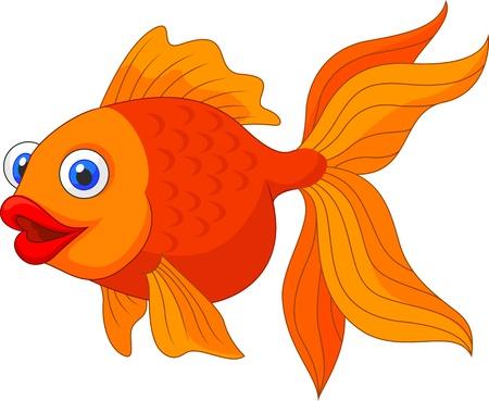 Nette goldenen Fisch Cartoon Standard-Bild - 21063045