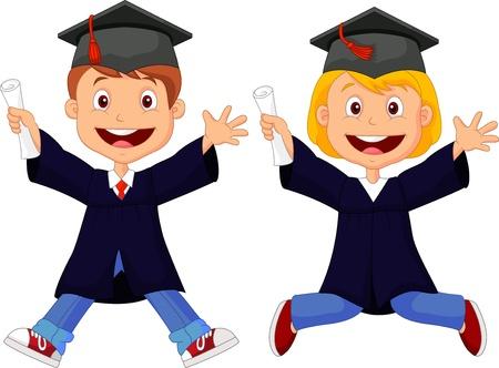 graduacion caricatura: Graduados feliz de la historieta