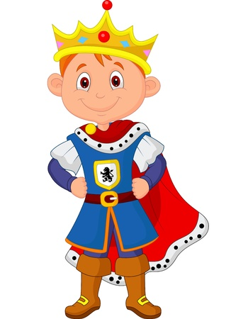 principe: Kid cartone animato con re costume Vettoriali