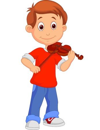 violist: Jongen cartoon die zijn viool Stock Illustratie