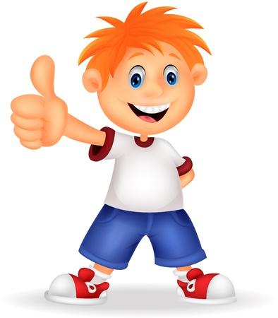 chico: Poco muchacho de la historieta que le da los pulgares para arriba