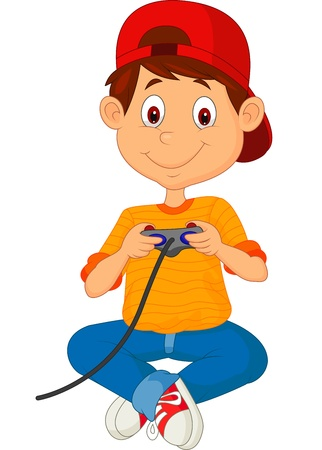 Child cartoon plays games on the joystick