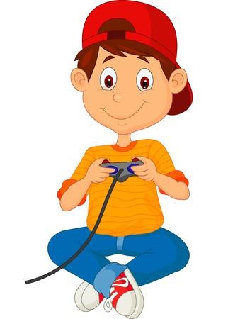 game boy: dessin anim� enfant joue � des jeux sur le joystick Illustration