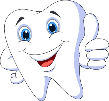 sorridente: Dente bonito dos desenhos animados com polegar acima