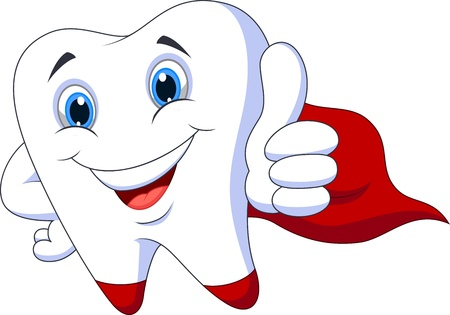 tooth root: Cute cartoon superhero tooth