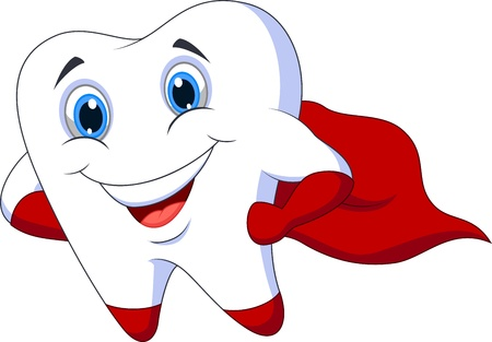 tooth fairy: Cute cartoon superhero tooth posing