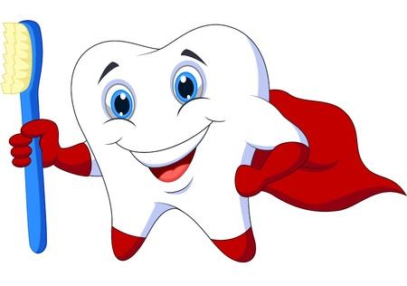 diente caries: Diente superh�roe de dibujos animados lindo con el cepillo de dientes Vectores