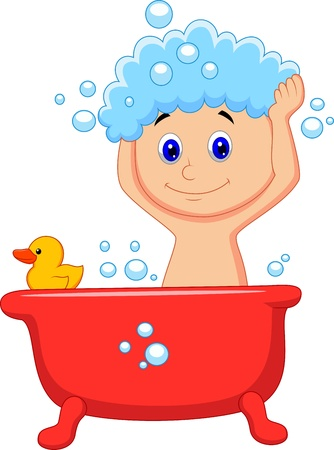 hair shampoo: Cute cartoon boy having bath