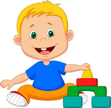 cartoon jongen: Babycartoon spelen met educatief speelgoed