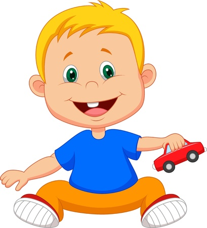 toddler playing: Baby cartoon playing car toy