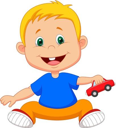 La historieta del bebé juega el juguete del coche