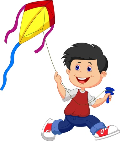 Cartoon boy playing kite