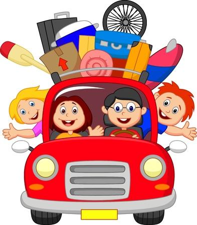 baggage: Cartoon-Familie auf Reisen mit dem Auto