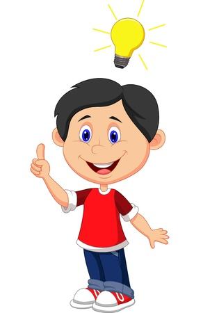 idea: Boy cartoon with a good idea