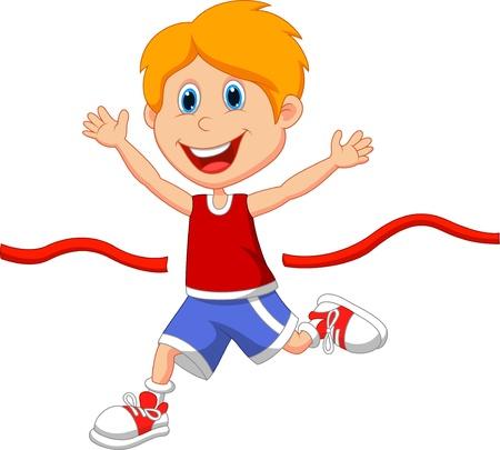 deportista: Dibujos animados Boy corrió a la línea de meta en primer lugar Vectores