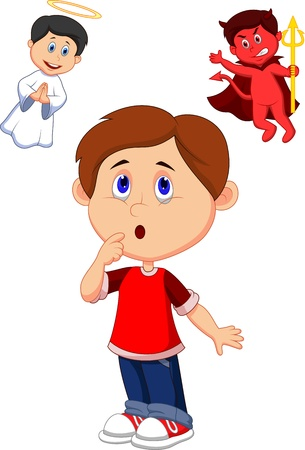 Cartoon boy confuse on choice between good and evil  Vector
