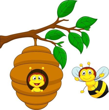 Cartoon a honey bee and comb  Illusztráció