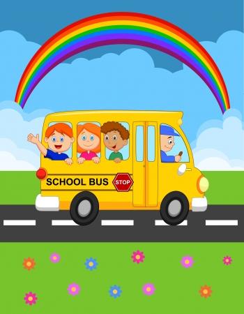 transporte escolar: Autobús escolar de dibujos animados con Niños Felices Vectores