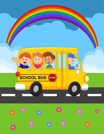 schoolbus: Cartoon School Bus With Happy Children