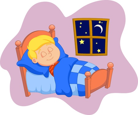 lying in bed: The boy cartoon was asleep in bed