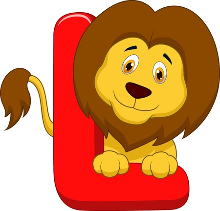 Alphabet L with lion cartoon  Vector