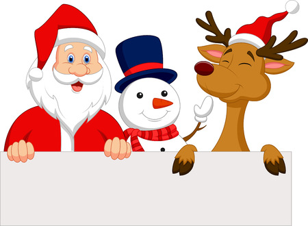 man and banner: Cartoon Santa Claus, reindeer and snowman with blank sign
