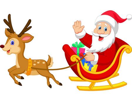 Cartoon kerstman rijdt met zijn slee Stock Illustratie