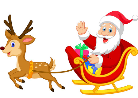 cartoon santa: Cartoon Santa drives his sleigh