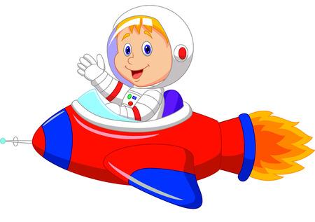 flying saucer: Cartoon boy astronaut in the spaceship